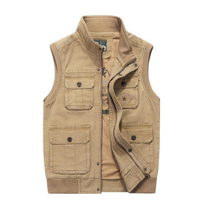 Plus Big Size 6XL 7XL 8XL Brand Clothing Autumn Mens Vests Sleeveless Jacket  Cotton Casual Multi Pocket Vest Male Waistcoat Coat