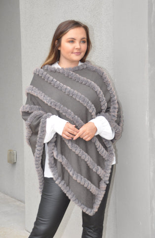 Natural Knitted Fur Poncho