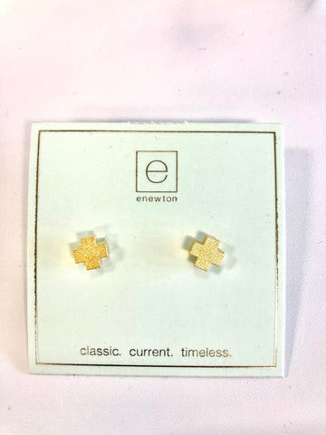 enewton Signature Cross Stud Matte Gold Earrings