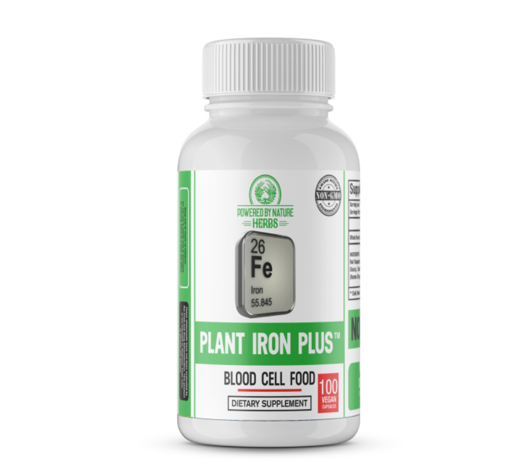 Conventional iron supplements are not fully absorbed by the body and generally can cause constipation. The body has a difficult time synthesizing iron that is inorganic. These inorganic forms are classified under the names ferrous fumarate and ferrous sulfate. The Plant Iron Plus herbal formula is pure plant iron.