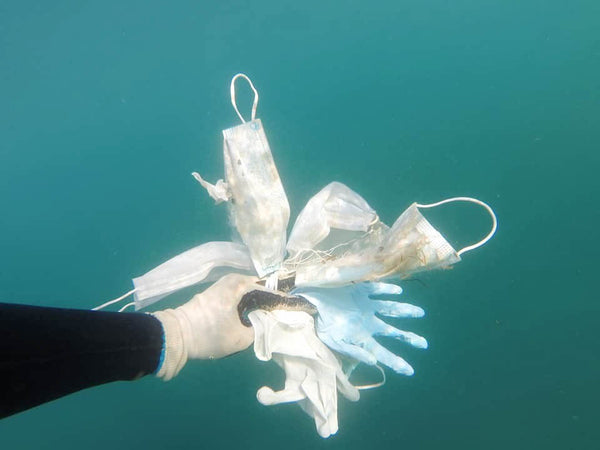 surgical mask waste found in the ocean