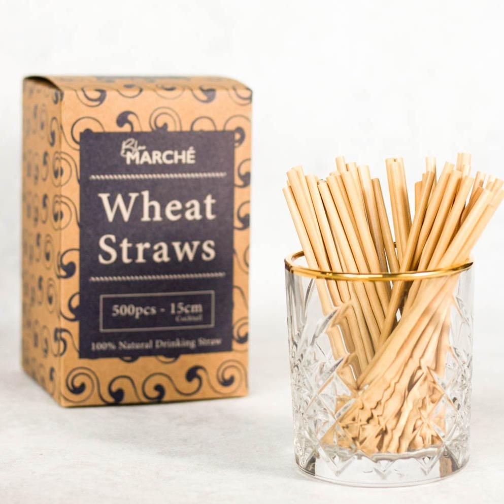 blue marche wheat straws in 15cm cocktail