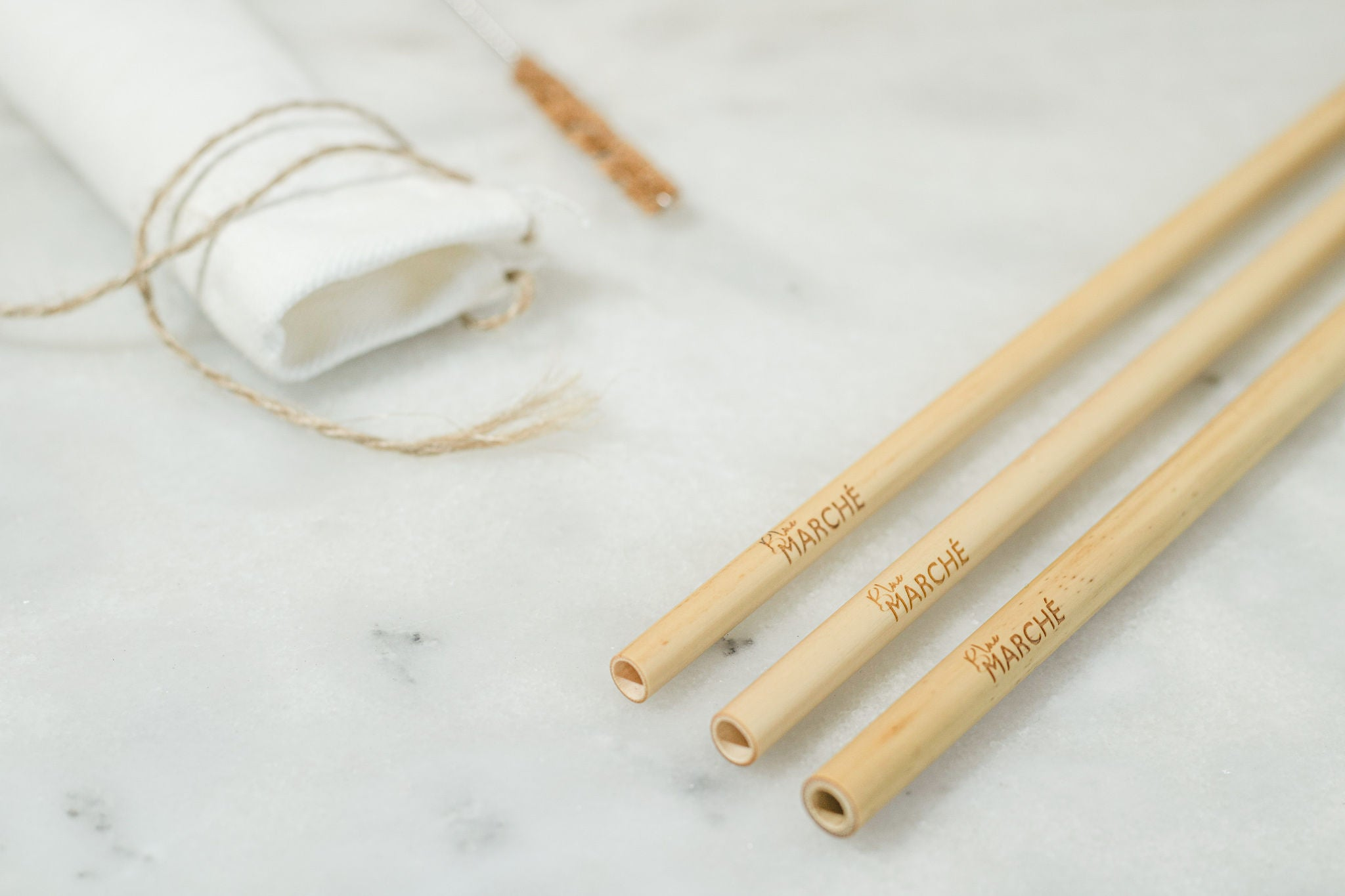 blue marche regular bamboo straw set in 6mm with 20 cm length