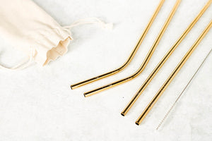 blue marche gold stainless steel straws in set of 4