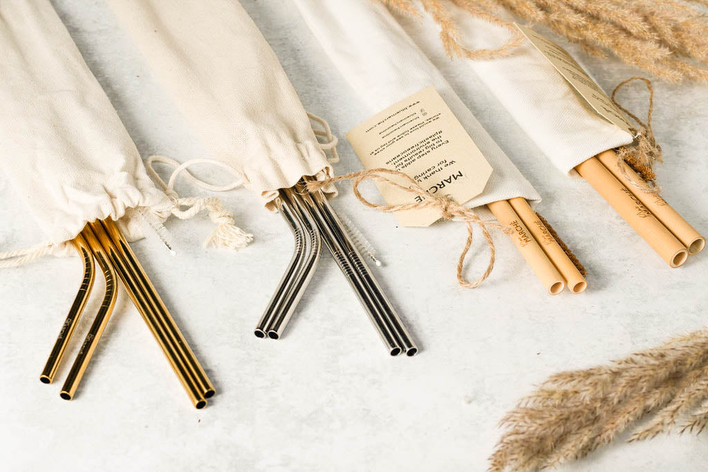 reusable straw sets bundle + bamboo+ stainless steel