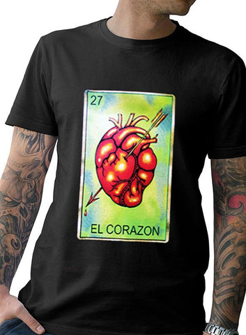"Men's Soft Ringspun Cotton ""El Corazon"" Tee"