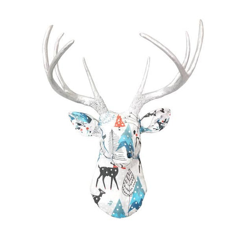 Faux Blue and White Woodland Winter Fabric Deer