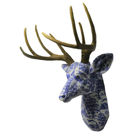 Faux Blue and White Delft Fabric Deer With Natural Antlers