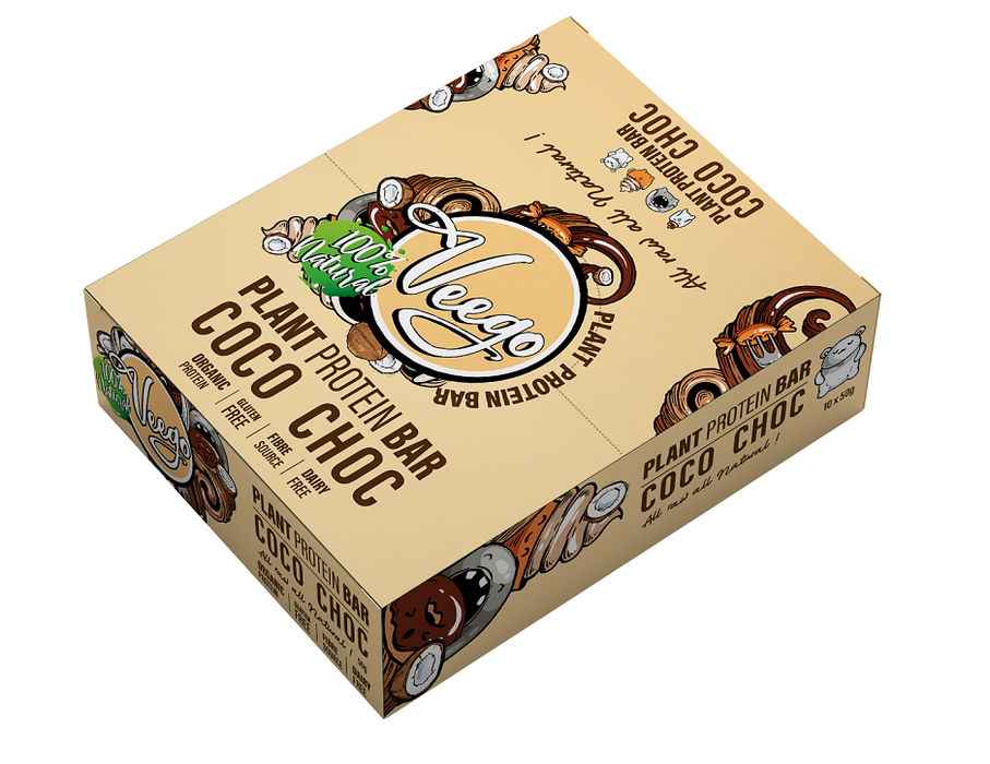 Plant Protein Bar 10 Pack Box by Veego