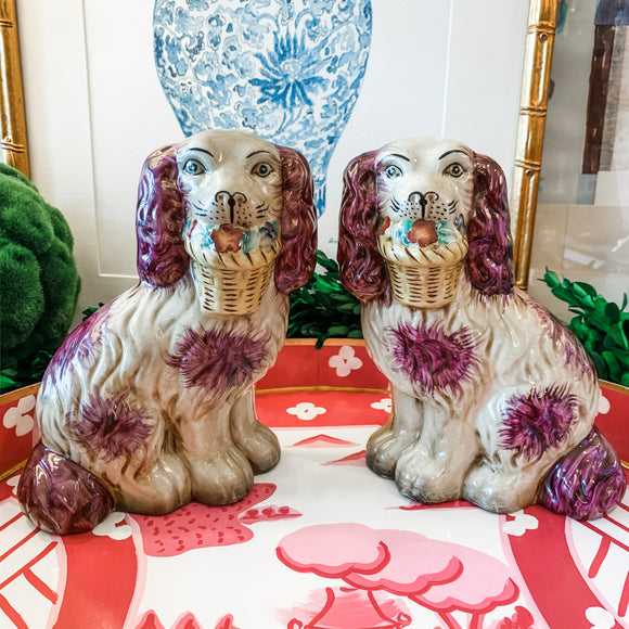 Pair of Pink/Purple Staffordshire-Style Dogs with Baskets, Medium