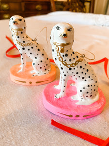 Dalmatian on Peach Pedestal Ornament