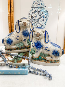 Pair of Blue and Cream Staffordshire-Style Bunnies