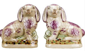 Pair of Lavender and Cream Staffordshire-Style Bunnies, Large