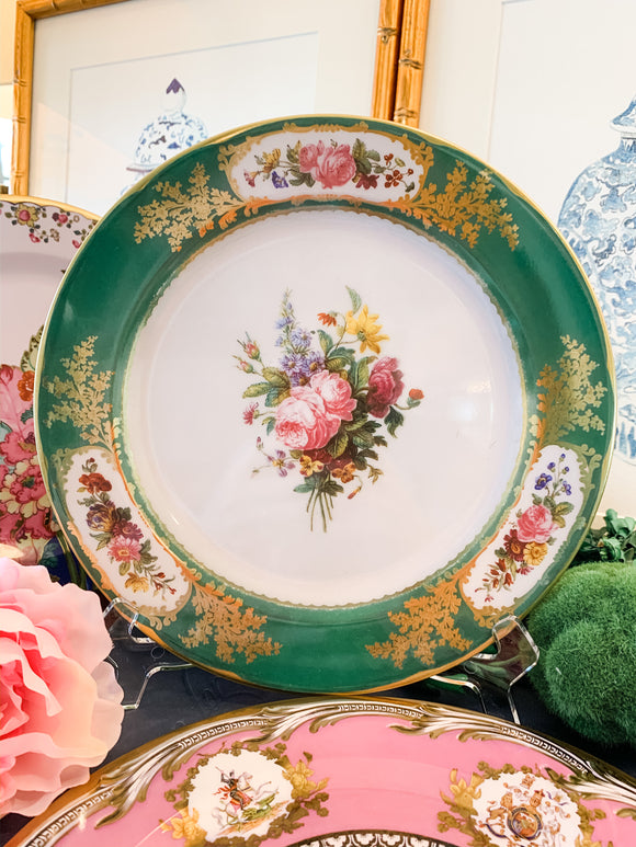 Green Sevres-Style Tin Plates, Set of Four