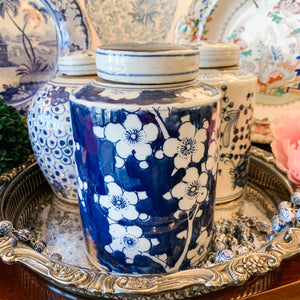 Antique-Style Cherry Blossom Canister, 7.5""