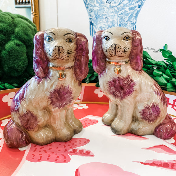 Pair of Pinkish Purple Staffordshire-Style Dogs, Small
