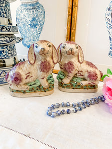 Pair of Staffordshire-Style Lavender and Cream Bunnies, Small