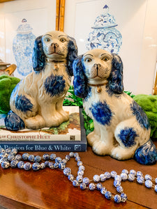 Pair of Blue and Cream Staffordshire-Style Dogs, Large