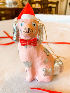 Santa Staffie Ornament, Pink and Silver