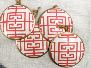 Pink and White Metal Tole Fretwork Ornament, 5""