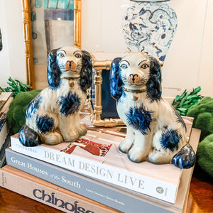 Pair of Blue and Cream Staffordshire-Style Dog Figurines, Small