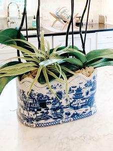 Classic Large Blue Willow Style Planter, 12""