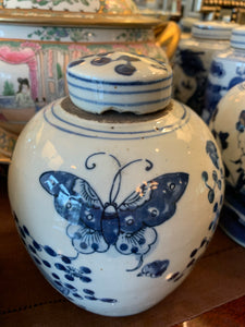 Antique Style Butterfly Ginger Jar, 7.5""