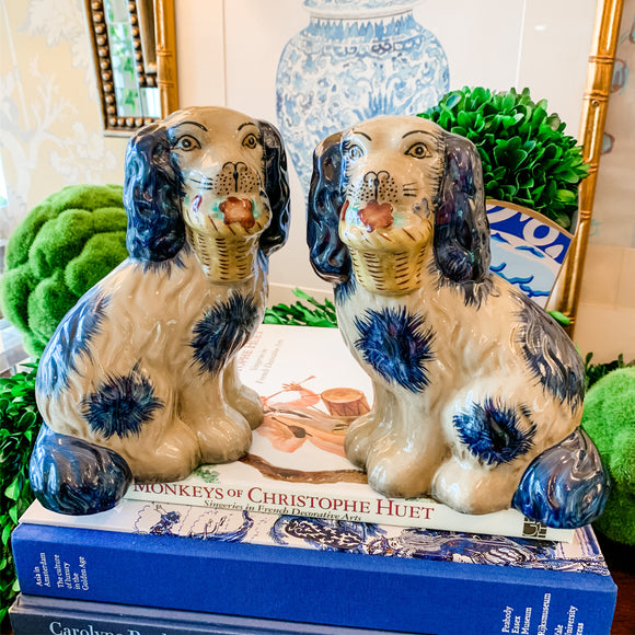 Pair of Blue and Cream Staffordshire-Style Dogs with Baskets, Medium