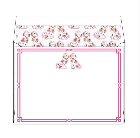 Pink Staffordshire-Style Dog Notecards