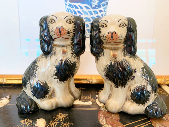 Pair of Black Staffordshire-Style Dog Figurines, small