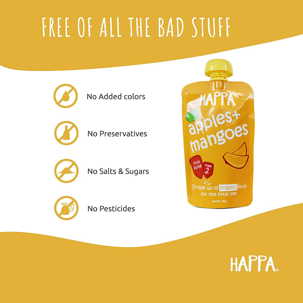 Happa Organic Baby Food Combo pack of Fruit & Veggies Puree, Pack of 12 , 100 Grams Each - Happafoods