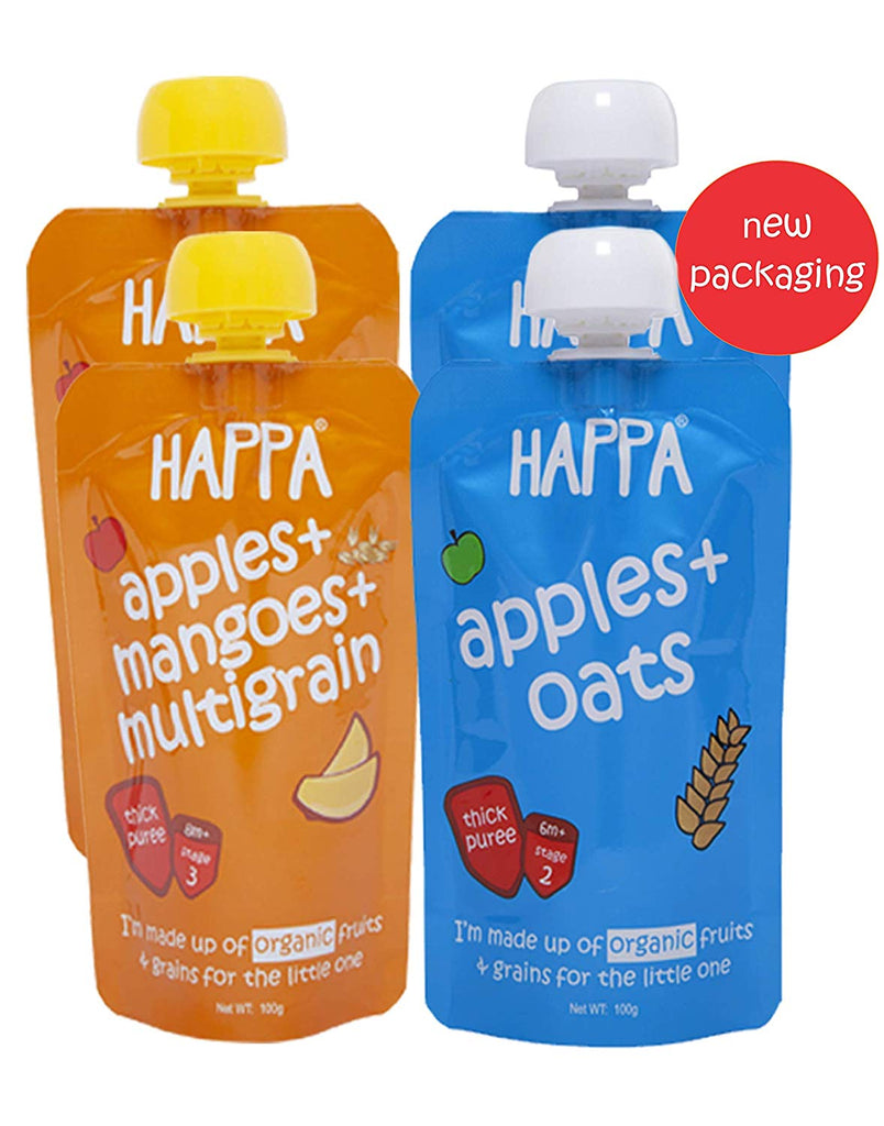 apple+ oats, apple+ mango+ multigrain (pack of 4) - Happafoods