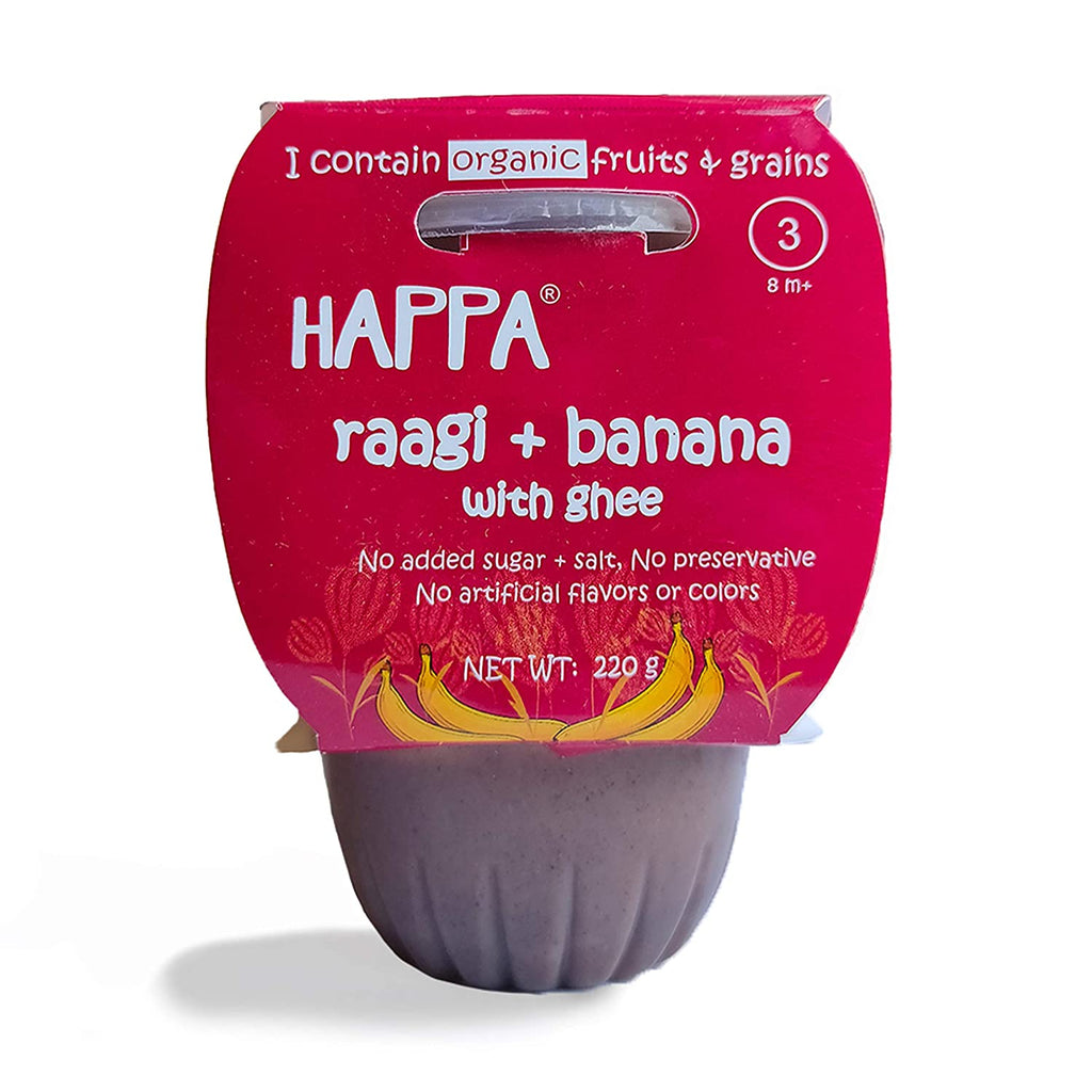 Happa Organic Baby Food Puree (Ragi+Banana with Ghee) Stage-3, 8 Months+, 2 tubs of 110g Each - Happafoods