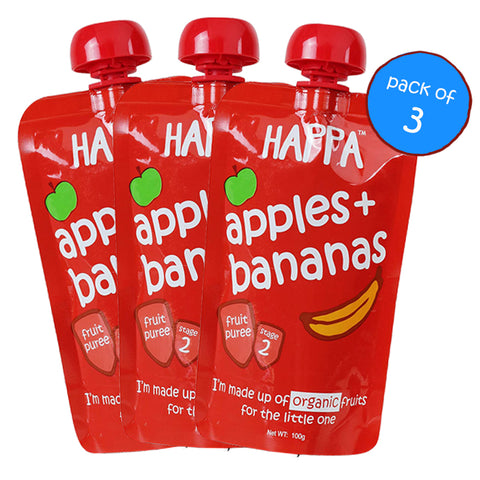 apple + banana puree (Pack of 3) - Happafoods