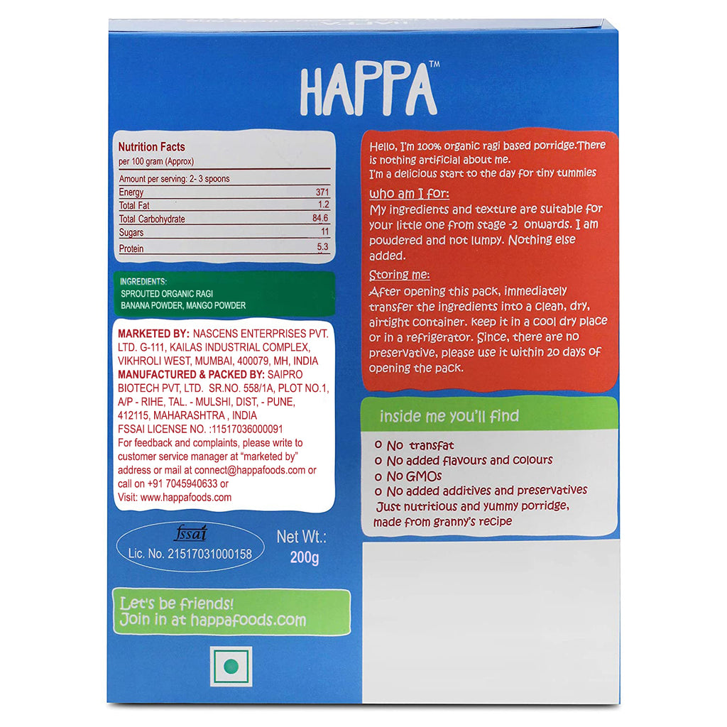 Happa Organic Puree and Porridge Combo , 1 Porridge and 6 Puree, Each Puree 100 Gram, Each Porridge 200 Gram - Happafoods