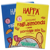 Happa Organic Ragi Porridge Mix- Ragi+Almonds+Dates and Ragi+Banana+Mango- Pack of 2, 200 Gram Each - Happafoods