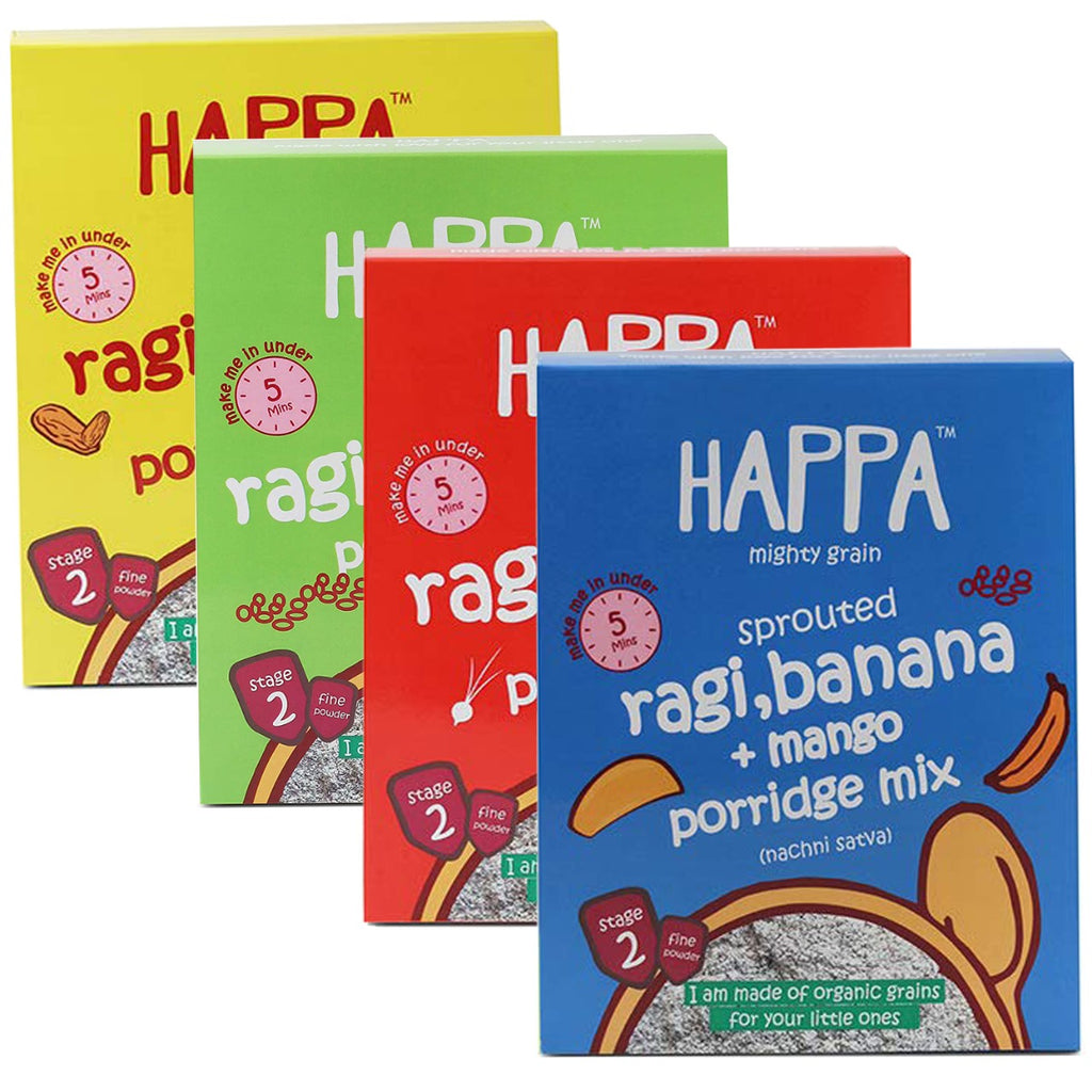 Happa Porridge Combo , 4 Packs, 200 Gram Each - Happafoods