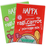 Happa Organic Ragi Porridge Mix- Ragi-Ragi and Ragi+Carrot+Beetroot- Pack of 2, 200 Gram Each - Happafoods