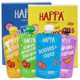 Happa Organic Baby Food, Fruit Puree and Porridge Combo, 4 Puree 100 Grams each and 2 Porridges 200 Grams Each