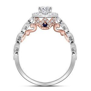 14k Two-tone Gold Round Diamond Solitaire Bellina Engagement Ring 3/4 Cttw