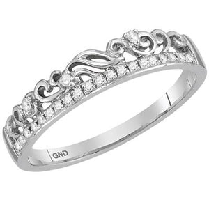 10K WHITE GOLD ROUND DIAMOND FLORAL ACCENT STACKABLE BAND RING 1/12 CTTW