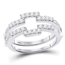 Load image into Gallery viewer, 14K WHITE GOLD DIAMOND SQUARE WRAP RING GUARD ENHANCER WEDDING BAND 1/2 CTTW