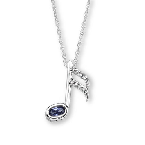 S.S. TANZANITE CZ MUSIC NOTE NECKLACE