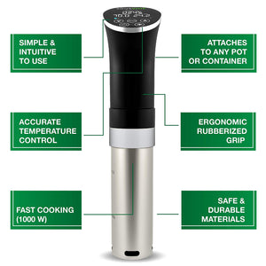 Sous Vide Cooker Immersion Circulator, Starter Kit - 22 items, 1000W