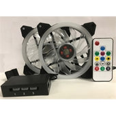 Epower Fan TOP-FAN-2RGB2 TOPOWER 120mm RGB LED PWM Fan with 8Port Fan Hub and Remoter Brown Box