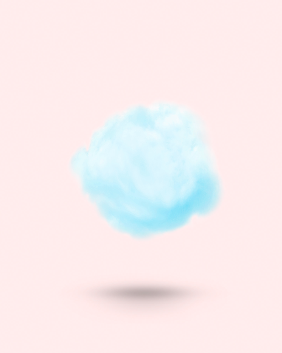 Fluffe fairy floss cotton candy Aries Zodiac blue