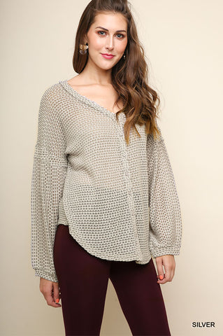 Silver Waffle Knit Button Front Top