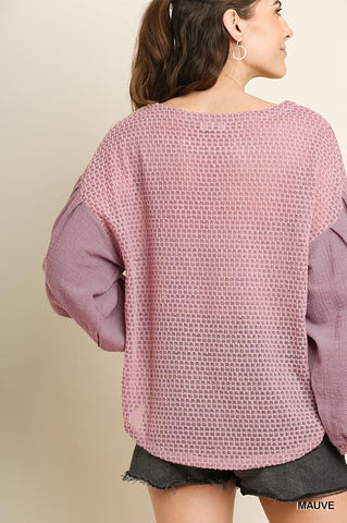 Mauve Waffle Knit Top with Scoop Hem and Side Slits