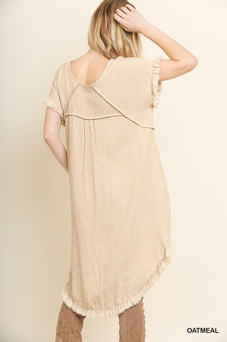 Round Neck Pocket Dress with Fringe Short Sleeves and a High Low Scoop Hem