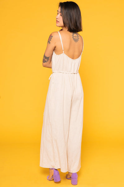LINEN JUMPSUIT IN STONE